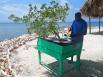 Captain Buck preparing an Island BBQ lunch