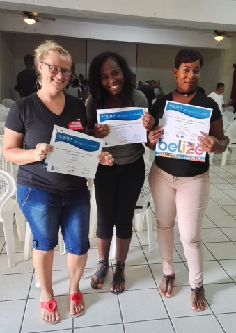 Kat, Diamond and Mel: the office staff at a customer service training